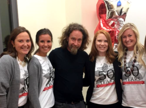 Group of LEND trainee volunteers with comedian Josh Blue at the Nisonger 50th Anniversary Celebration